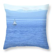 Solitary Sailing On Lake Tahoe Throw Pillow