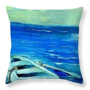 Solo Rowboat Throw Pillow