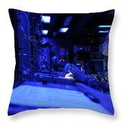 Sonar Technician Stands Watch Throw Pillow by Stocktrek Images