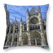 South Facade Of Leon White Gothic Throw Pillow