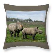 Southern White Rhinos Throw Pillow