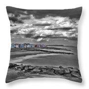 Southwold Beach Huts Throw Pillow