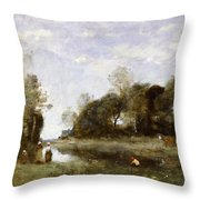 Souvenir Of The Bresle At Incheville  Throw Pillow