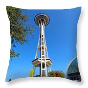 Space Needle In Seattle Washington  Throw Pillow