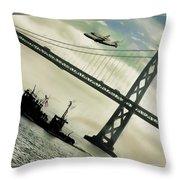 Space Shuttle And San Francisco Bay Bridge  Throw Pillow