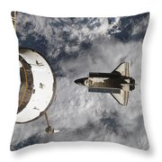 Space Shuttle Atlantis And The Docked Throw Pillow