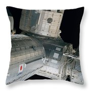 Space Shuttle Discovery And Components Throw Pillow
