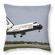 Space Shuttle Discovery Approaches Throw Pillow