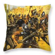 Spanish Conquistadors Throw Pillow