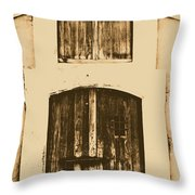 Spanish Fort Door Castillo San Felipe Del Morro San Juan Puerto Rico Prints Rustic Throw Pillow by Shawn O'Brien