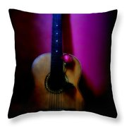 Spanish Guitar And Red Rose Throw Pillow