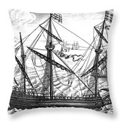 Spanish Ship, C1595 Throw Pillow