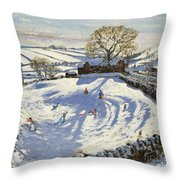 Sparrowpit Derbyshire Throw Pillow by Andrew Macara