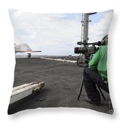 Specialist Records Video Of Flight Deck Throw Pillow