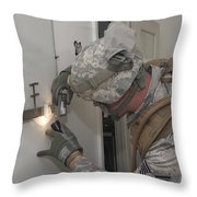 Specialist Takes A Photograph Throw Pillow
