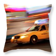 Speeding Cab Throw Pillow