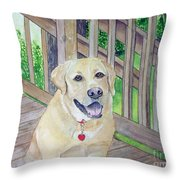 Spencer On Porch Throw Pillow