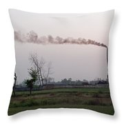 Spewing Smoke And Pollution Into A Green Rural Environment Throw Pillow
