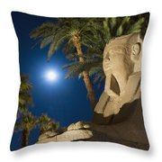 Sphinx And Date Palms With Full Moon Throw Pillow