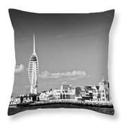 Spinnaker Tower And Round Tower Portsmouth Bw Throw Pillow