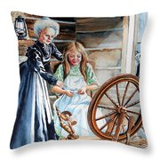 Spinning Wheel Lessons Throw Pillow by Hanne Lore Koehler