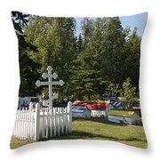Spirit Houses Of Eklutna Throw Pillow