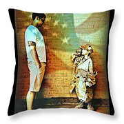Spirit Of Freedom - Soldier And Son Throw Pillow