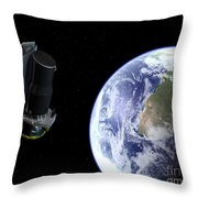 Spitzer Departing The Earth Throw Pillow