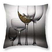 Splashing Wine In Wine Glasses Throw Pillow