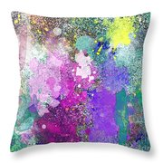 Splattered Colors Abstract Throw Pillow