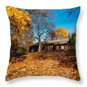 Splendor Of Autumn. Wooden House Throw Pillow