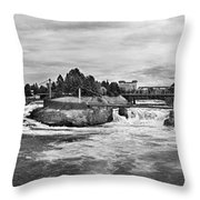 Spokane Falls From Lincoln Street Bridge In B And W Throw Pillow