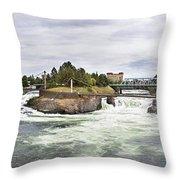 Spokane Falls From The Lincoln Street Bridge Throw Pillow