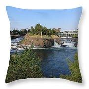 Spokane Falls Hdr Throw Pillow by Carol Groenen
