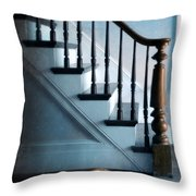Spooked Cat By Stairs Throw Pillow