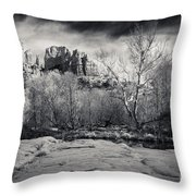 Spooky Castle Rock Throw Pillow by Darcy Michaelchuk