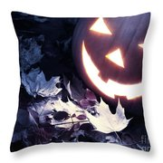 Spooky Jack-o-lantern On Fallen Leaves Throw Pillow