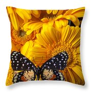 Spotted Butterfly On Yellow Mums Throw Pillow
