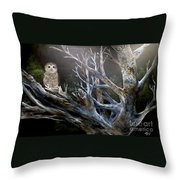Spotted Owl In Tree Throw Pillow