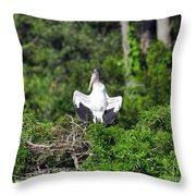 Spread Stork Throw Pillow