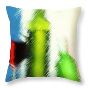 Wine Glasses And Bottle With Colorful Drinks  Throw Pillow