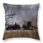 Spring Burning Of The Blueberry Fields Throw Pillow