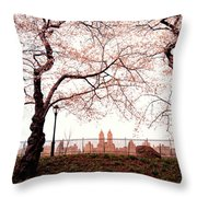 Spring Cherry Blossoms - Central Park Reservoir Throw Pillow by Vivienne Gucwa