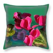 Spring Cyclamen Throw Pillow