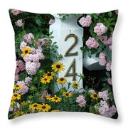 Spring Flowers And Fencepost Throw Pillow