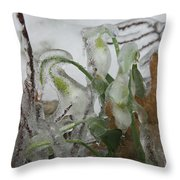 Spring Flowers In Ice Storm Throw Pillow