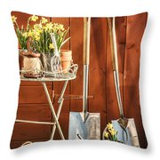 Spring Gardening Throw Pillow