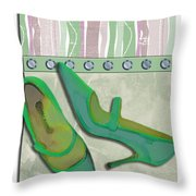 Spring Green Stripes And Rivets Throw Pillow
