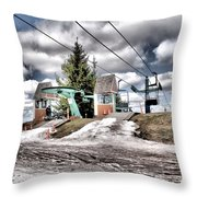 Spring Mud Skiing Throw Pillow