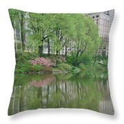 Spring Reflections Of Manhattan In Central Park Throw Pillow